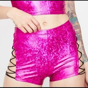 Aid Pink Strappy Rave Shorts